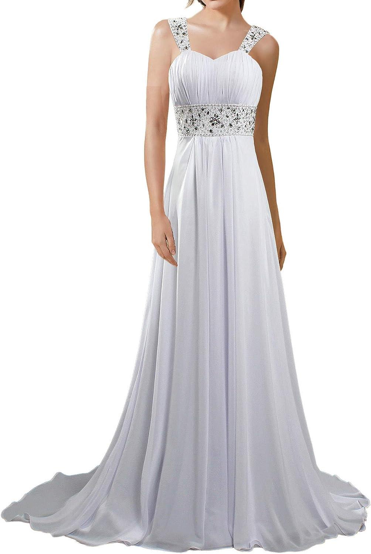 ANTS Women's Long Chiffon Beach Bridal Wedding Dresses Cap Sleeves