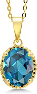 4.20 Ct Oval London Blue Topaz 18K Yellow Gold Plated Silver Pendant With Chain