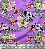 Soimoi Lila Seide Stoff Kolibri, Laub & Magnolie Blumen-