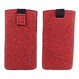 Universell bis max. 6,4 Zoll Filztasche Handytasche Handyhülle Tasche Hülle Schutzhülle aus Filz für Smartphone wie Sony, LG, Samsung, HTC, Huawei, Geräte mit max. 17,9x9,2x1cm (Melange Rot)