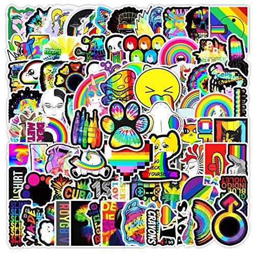 LVLUO Color Rainbow Ins Series Graffiti Sticker Equipaje Scooter Decorado Pegatinas de Coche 100 Piezas
