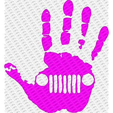Jeep Wave Hand Vinyl Decal Sticker fits Jeep Wrangler Rubicon JK TJ YJ CJ (6 , Pink)