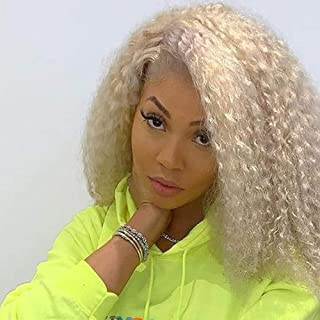 ZigZag Hair Blonde Short Bob Human Hair Curly Wigs For Black Women #613 Curly Lace Front Human Hair Wigs 130% Density Bob Wig With Baby Hair (12inch, Curly)