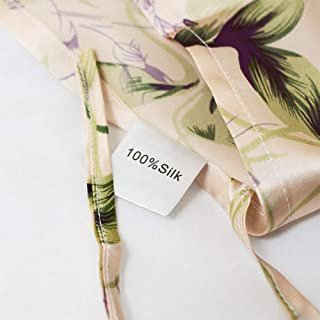 Softta 1Pc 100% silk Purple flowers Pillowcases/shams/cover Towel (no filling) for Hair and Skin tie a knot design Can be used as a pillowcase (1, King)