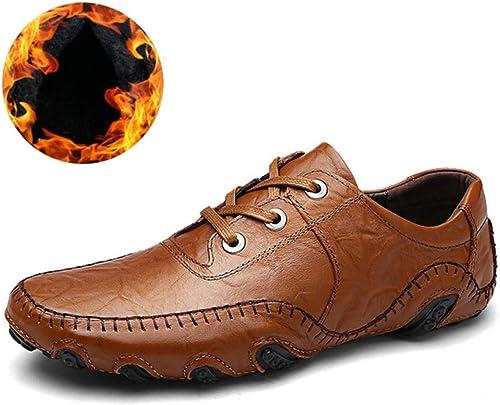 Chaussures en cuir pour homme fabriquées à la main, Cuir Caoutchouc, 8890-1m-marron, 7