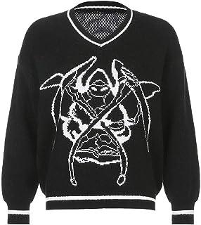 SMIMGO Señoras de gran tamaño de punto cuello en V suéter Y2k moda vintage Argyle suéter chaleco y puentes tops ropa estética