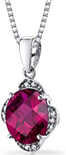 14K White Gold Created Ruby Diamond Pendant Checkerboard Cut 3.5 Carats Total