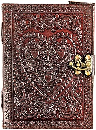 Urban Leather Book of Love - Diario romántico con forma de bala para hombres y mujeres, dibujo, cuaderno de recortes vintage, cuaderno de escritura para historias de viaje, color marrón/sin forro