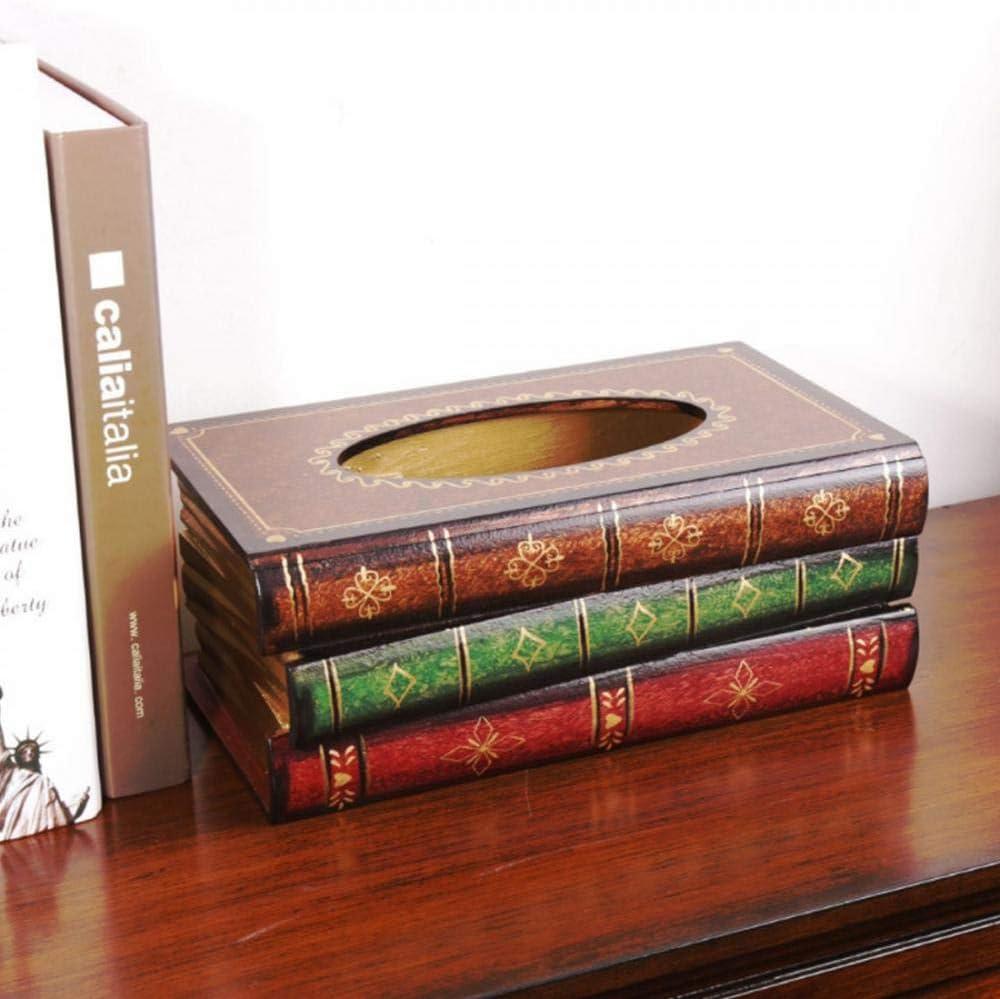 Magnitt Elegant Wooden Antique Book Tissue Holder Dispenser/Novelty Napkin Holder,Modern Square Paper Facial Tissue Box Cover Holder for Home Office Car Decoration (Sienna)