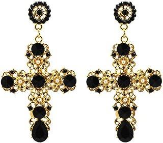 Elleda Jewelry Vintage Boho Crystal Cross Baroque Bohemian Large Long Drop Earrings for Women Girls