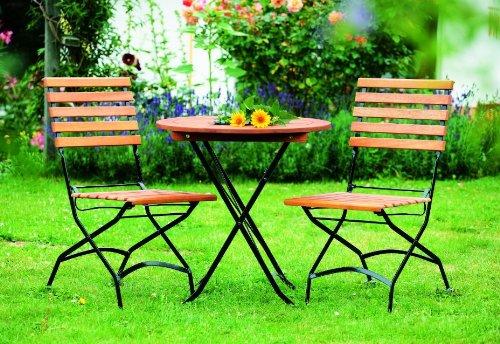 gartenmoebel-einkauf Klapp - Bistroset Schlossgarten 3-teilig, Stahl schwarz + Eukalyptus, FSC®-zertifiziert