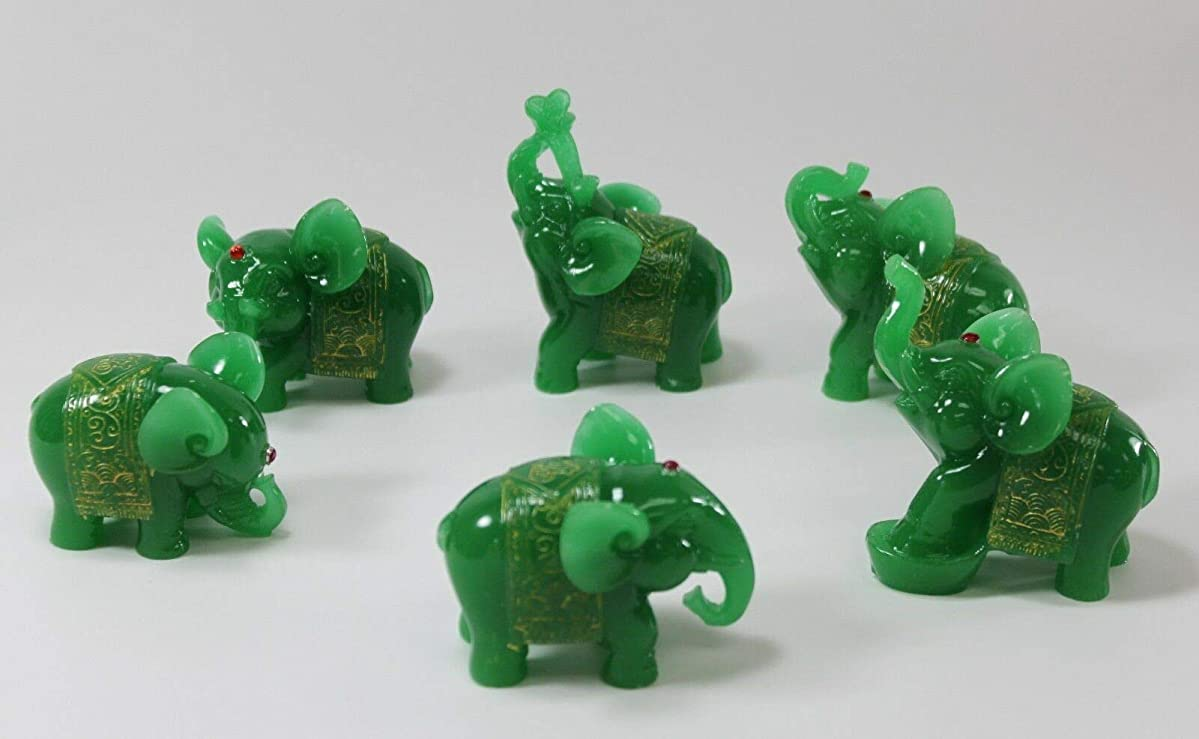 Luckylife_4U Set of 6 Feng Shui Elephant Trunk Statues Wealth Figurine Gift & Home Decor Green