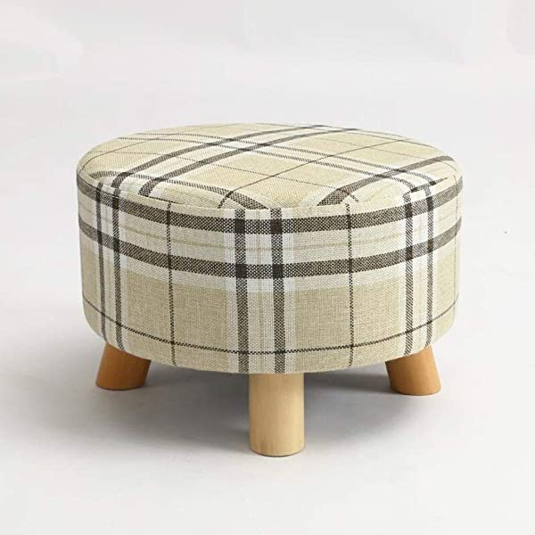 Carl Artbay Wooden Footstool Beige Stripes Change The Shoe Stool Solid Wood Stool Round Stool Creative Fashion Small Bench Home