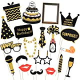 Tinksky 20 Pcs Birthday Party Photo Booth Props Funny Birthday Black and Gold Decorations with Wooden Sticks for His or Hers Birthday Celebrations