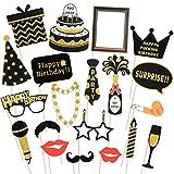 LUOEM Alles Gute zum Geburtstag Photo Booth Requisiten Glitter Geburtstag posiert Requisiten auf...