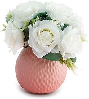 Keleily Bouquet Fleur Artificielle avec Céramique Vase Fleurs de Roses Artificielles Fleurs Artificiel en Pot Interieur po...
