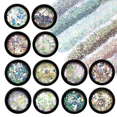 12 Farben Nagel Glitzer Set, Nail Art Glitzerpulver Set Feine Glitzerpuder Glitter Pulver Nagel Dekoration für Nagelkunst, Lidschatten, Gesicht, Basteln, DIY Make-Up
