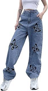 SMIMGO Pantalones vaqueros rectos de cintura alta para mujer, pantalones de mariposa, pantalones vaqueros holgados, pierna...