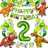 Decoracion Cumpleaños Dinosaurios, Globos de Cumpleaños Dinosaurios, Globo Numero 2 Verde, Globos Dinosaurios, Globos Grandes Gigantes Helio, Globos de Cumpleaños 2 Años