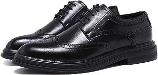 Zapatos casuales Zapatos de cuero formal para hombres, punta redonda de punta de cuero vegano de Oxford, tacones de color ...