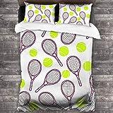 AIMILUX Funda Edredón,Deportes de Patrones sin Fisuras con Iconos de Raqueta y Pelota de Tenis en Estilo de diseño Plano,Ropa de Cama Funda Nórdica,1(240x260cm)+2(50x80cm)