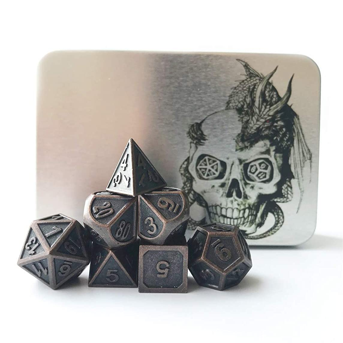 Truewon Metal Dice Set of 7 with Metal Case (Ridge Rustey Red Copper Color)