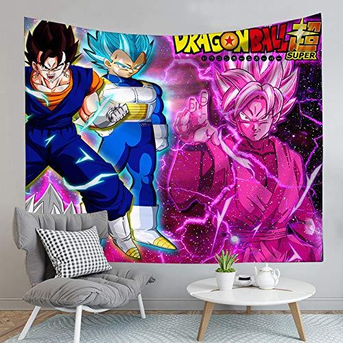 MSHAQT Dragon Ball Z Goku Vegeta Anime Tapiz Colgante De Pared Estera De Yoga Colcha Toalla De Playa Sala De Estar Deco Art 150Cm * 130Cm