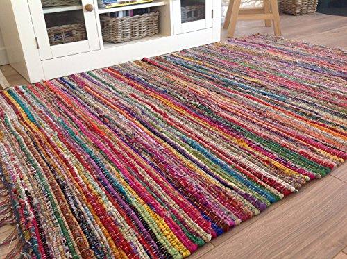 Shanti-Flickenteppich, Chindi-Teppich mit Fransen, Fairtrade, mehrfarbig, gewebt mit recycelten Materialien, mittelgroß