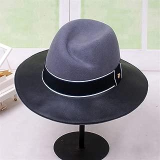 ZWHMZ Korean Version of The Autumn and Winter Female Wool Felt hat Leather Stitching Jazz hat Wild Retro England Wool hat Female Winter hat (Color : Grey)