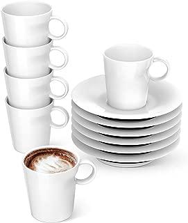 LE TAUCI Demitasse Cups 5oz with Saucers, Set of 6,Espresso cups Perfect for Coffee Machine - Ristretto, Espresso, Lungo, White