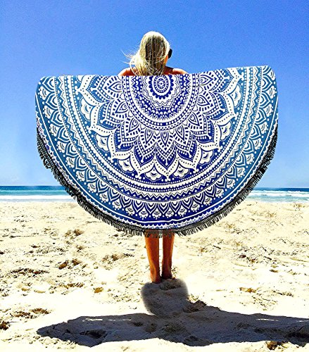 Aakriti Toalla de playa redonda con degradado estilo mandala indio, tapiz hippy, boho, mantel de algodón, mantel para picnic, esterilla de yoga, chal redondo, 182 cm, algodón, azul, 180 cm