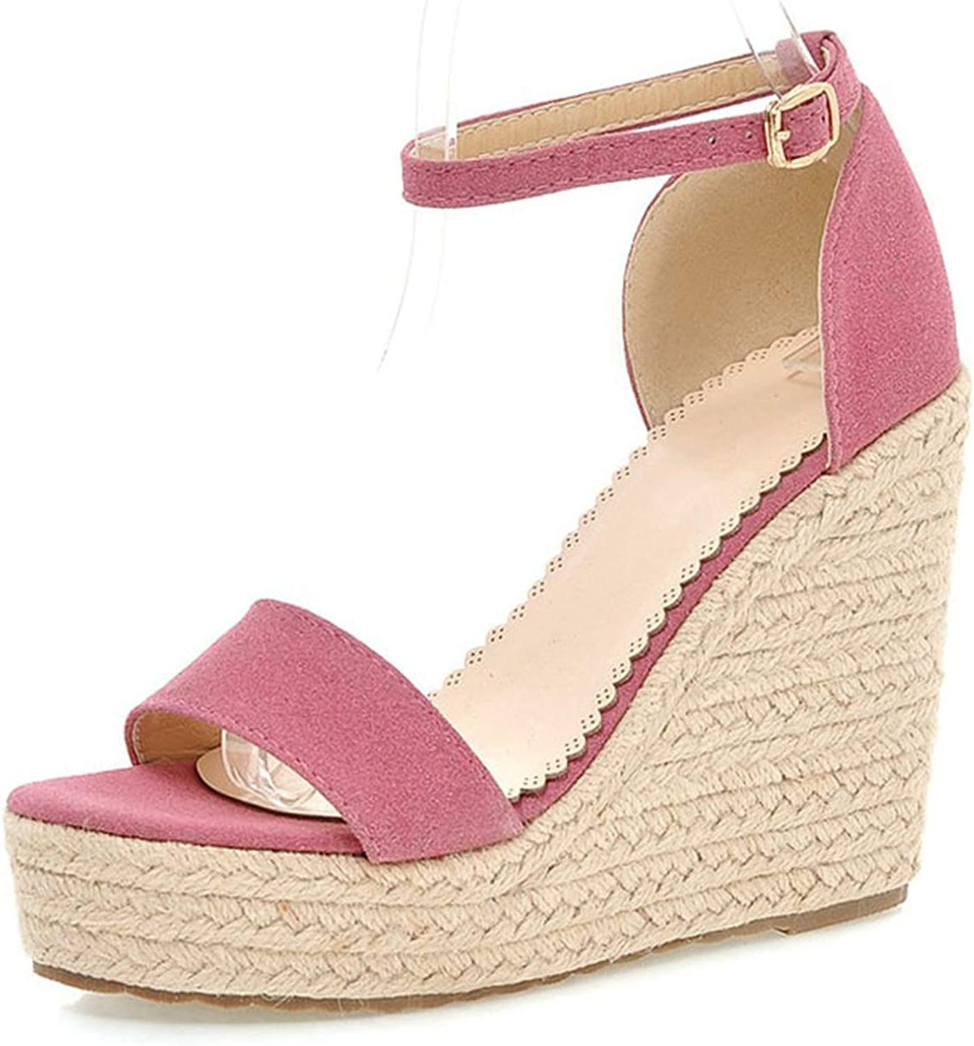 Flock Cover Heel Sandals Summer Platform Wedges High Heels Concise Solid Buckle Ankle-Wrap Sandals Women shoes