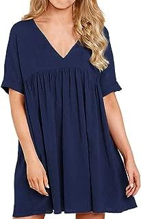 Women's Summer Dresses Ruffle Flowy Deep V Neck Swing Mini Peplum Casual Loose Babydoll Long Blouses