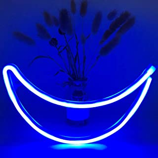 Moon Neon Signs BeMoment Night Light LED Neon Light with Hook Art Decorative Lights Wall Decor for Children Baby Room Christmas Wedding Party Decoration(Blue Moon)