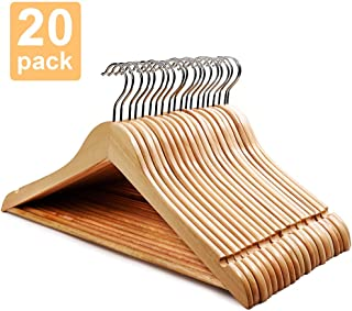 HOUSE DAY Wooden Hangers 20 Pack Hangers Wood Hangers Wooden Clothes Hanger Natural Smooth Finish Wooden Hanger Premium Wooden Hangers for Clothes Suit