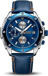 MEGIR Montres Hommes étanche Chronographe Sport Analogique Quartz Montres Homme Date Mode Les Loisirs Montre en Cuir Bleu ...