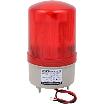 Uxcell Industrial 105 110db Buzzer Siren Ac 110v Red Led Warning Light Signal Tower Lamp Amazon Com Industrial Scientific