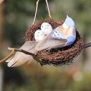lwingflyer 1pcs Artificial Simulation Foam Birds Nest Eggs Decor Feather Birds Craft DIY for Home Ornaments Wedding Decoration Party Accessories(Blue)