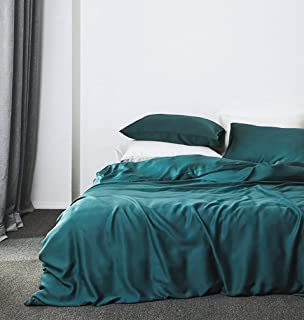 Solid Color Egyptian Cotton Duvet Cover Luxury Bedding Set High Thread Count Long Staple Sateen Weave Silky Soft Breathable Pima Quality Bed Linen (King, Vibrant Peacock)