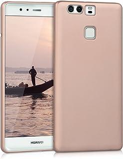 kwmobile Funda para Huawei P9 - Carcasa para móvil en TPU Silicona - Protector Trasero en Oro Rosa Metalizado