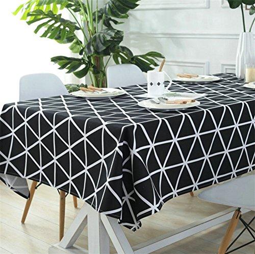 FUHOAHDD Tischdecke Schwarz-Weiß-Linie Tischdecken Tischdecke Restaurant Home Hotel Konferenz Tischdecken Einfache Couchtisch Tischdecke, Black