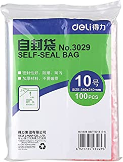 Deli 3029 Zip Lock Bag, 340 x 240mm (100 Pieces)