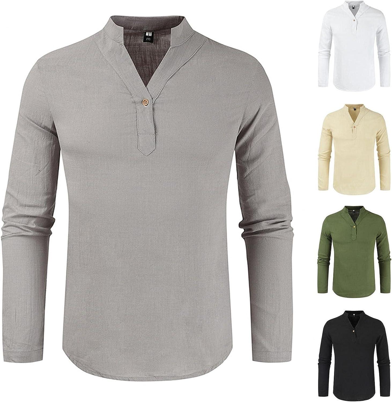 JSPOYOU Cotton Linen Henley Shirts for Long Colorado Springs Mall Store Men Sleeve Button Do