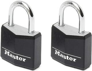 Master Lock 9130EURTBLK Pack of 2 Key Padlocks in Aluminium with Vinyl Cover, Black, 3 x 5.2 x 1.6 cm