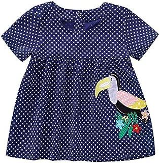 BYSTE Abito Bambina Ragazze Abiti Vestito da Principessa,Punto Cartone Animato Adorabile Applique Manica Corta Manica Corta T-Shirt Top
