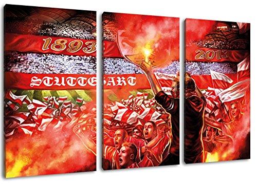Ultras-Art Stuttgart Collage, 3-Teiler Format: 120x80, Bild auf Leinwand XL, fertig gerahmt