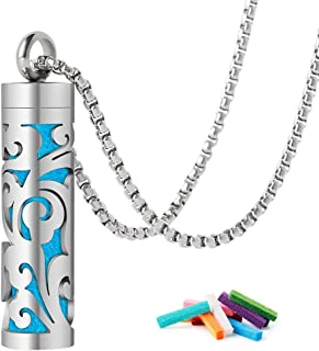GoorDik Essential Oil Diffuser Necklace 316L Stainless Steel with 10 Reusable Felt Pads for Men/Women/Kids (Silver)