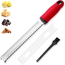 Cheese Grater, Lemon Zester, Handheld Fine Zesters Graters with Upgrade Blades, Chocolate, Parmesan, Coconut, Citrus, Lime, Fruit Zest, Stainless Kitchen Tools and Gadgets, Dishwasher Safe (Red)