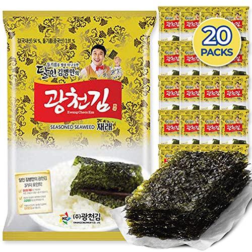 Kwangcheonkim Seasoned Seaweed Sheets Snacks – 20 Individual Packs Jaerae Traditional Premium Kim Nori Roasted Natural Laver 4g 0.14 oz 김 のり 海苔 紫菜