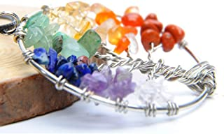 IDB Tree Of Life Pendant Necklace - With Rainbow Quartz Chips / 7 Chakra Crystals - Approx Chain Length 45CM+5CM